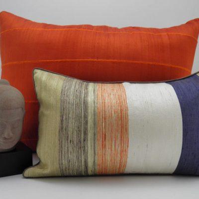Bayadere Cushion Cover 45x27cm + Raw Silk Cushion Cover - Orange - 70x50cm