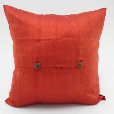 Coussin Soie Sauvage Nature - Orange Sanguine - verso
