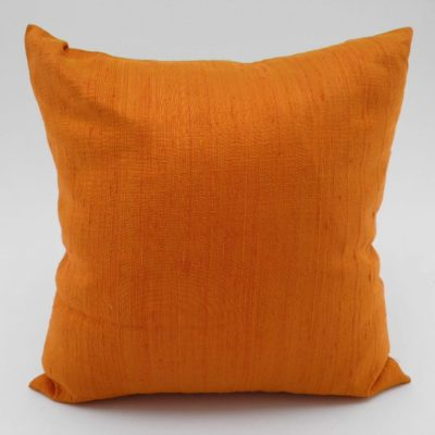 Coussin Soie Sauvage Nature - Tangerine