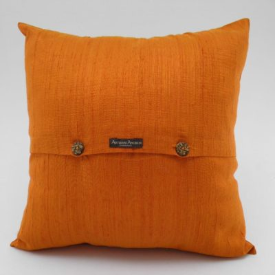 Coussin Soie Sauvage Nature - Tangerine - verso