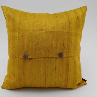 Coussin Soie Sauvage Nature - Or - verso