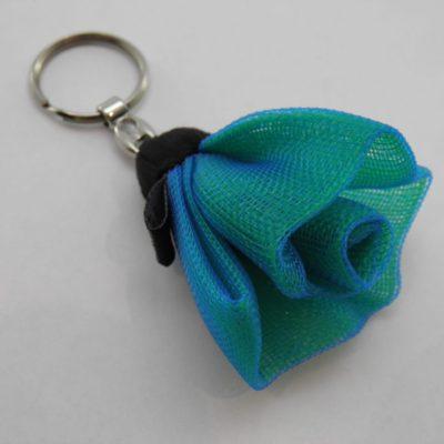 Porte-clés Fleur - Petit - Bleu pétrole
