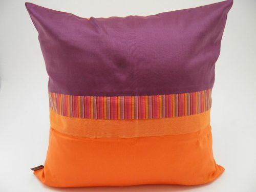 Coussin Charmant - Aubergine / Orange - 45x45cm