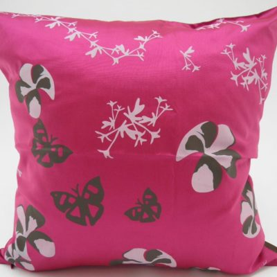 Water Lily Cushion Cover – 2 In 1 - Charcoal / Fuchsia - 45x45cm