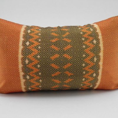 Coussin IKAT Hol Lboeuk - Orange - 45x27cm