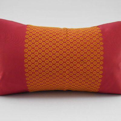 Coussin Soie – Chorebap Jasmine - Bordeaux / Orange - 45x27cm