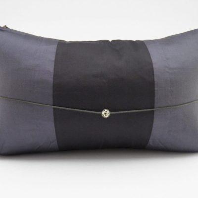 Coussin Soie – Précieux - Gris Foncé / Noir - 45x27cm