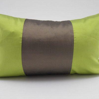 Coussin Soie – Précieux - Anis / Bronze - 45x27cm