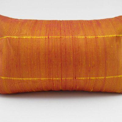 Coussin Soie Sauvage - Jaune / Orange - 45x27cm