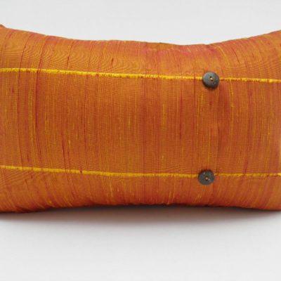 Coussin Soie Sauvage - Jaune / Orange - 45x27cm - verso