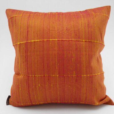 Coussin Soie Sauvage - Jaune / Orange - 42x42cm