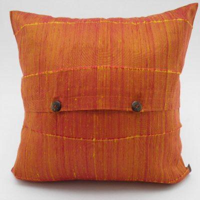 Coussin Soie Sauvage - Jaune / Orange - 42x42cm - verso
