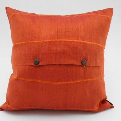 Coussin Soie Sauvage - Orange - 42x42cm - verso
