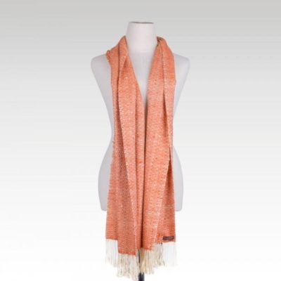 Romduol - Raw Silk Scarf - Orange