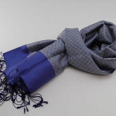 Écharpe Gala - Brocart de soie - Bleu / Ivoire