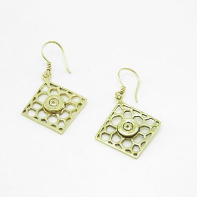 Earrings Recycled Brass – Square Bees Nest And Bullet Rim