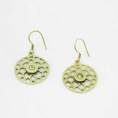 Earrings Recycled Brass – Round Bees Nest And Bullet Rim