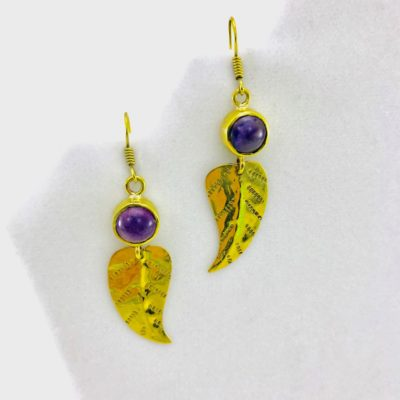Leaf Earrings And Natural Stone