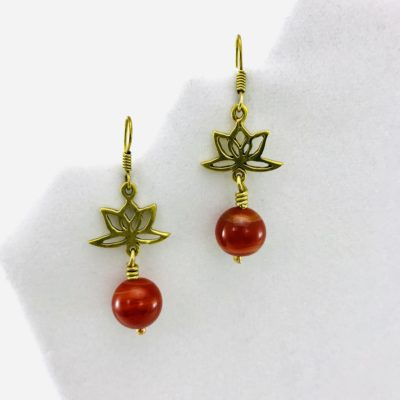 Earrings Lotus Design And Stone